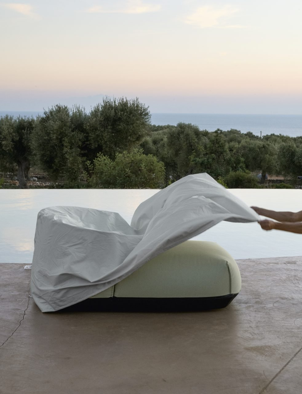 Brioni Outdoor Chairs pouf from Kristalia, designed by Lucidipevere