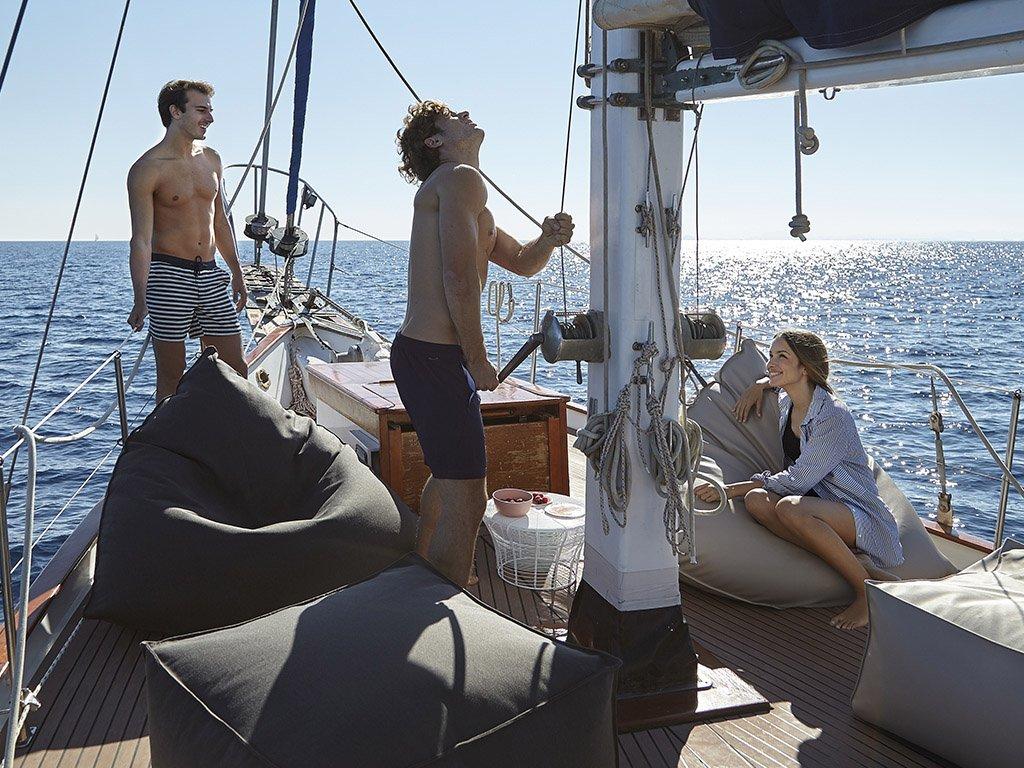 Sail Outdoor Pouf from Gandia Blasco, designed by Hector Serrano