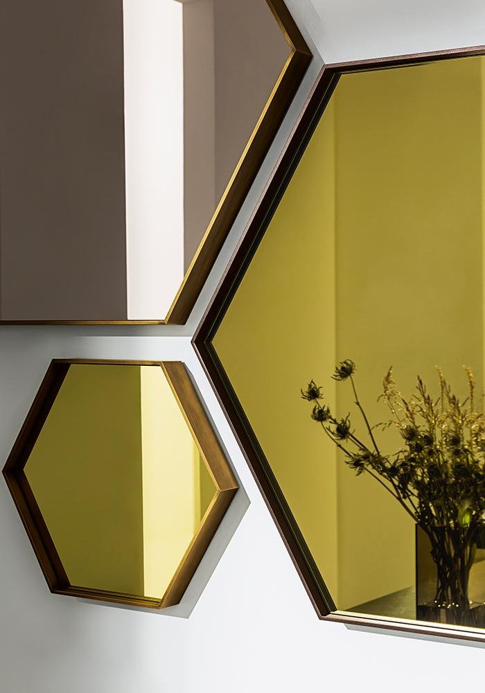 Visual Hexagonal Mirror from Sovet, designed by Lievore Altherr Molina