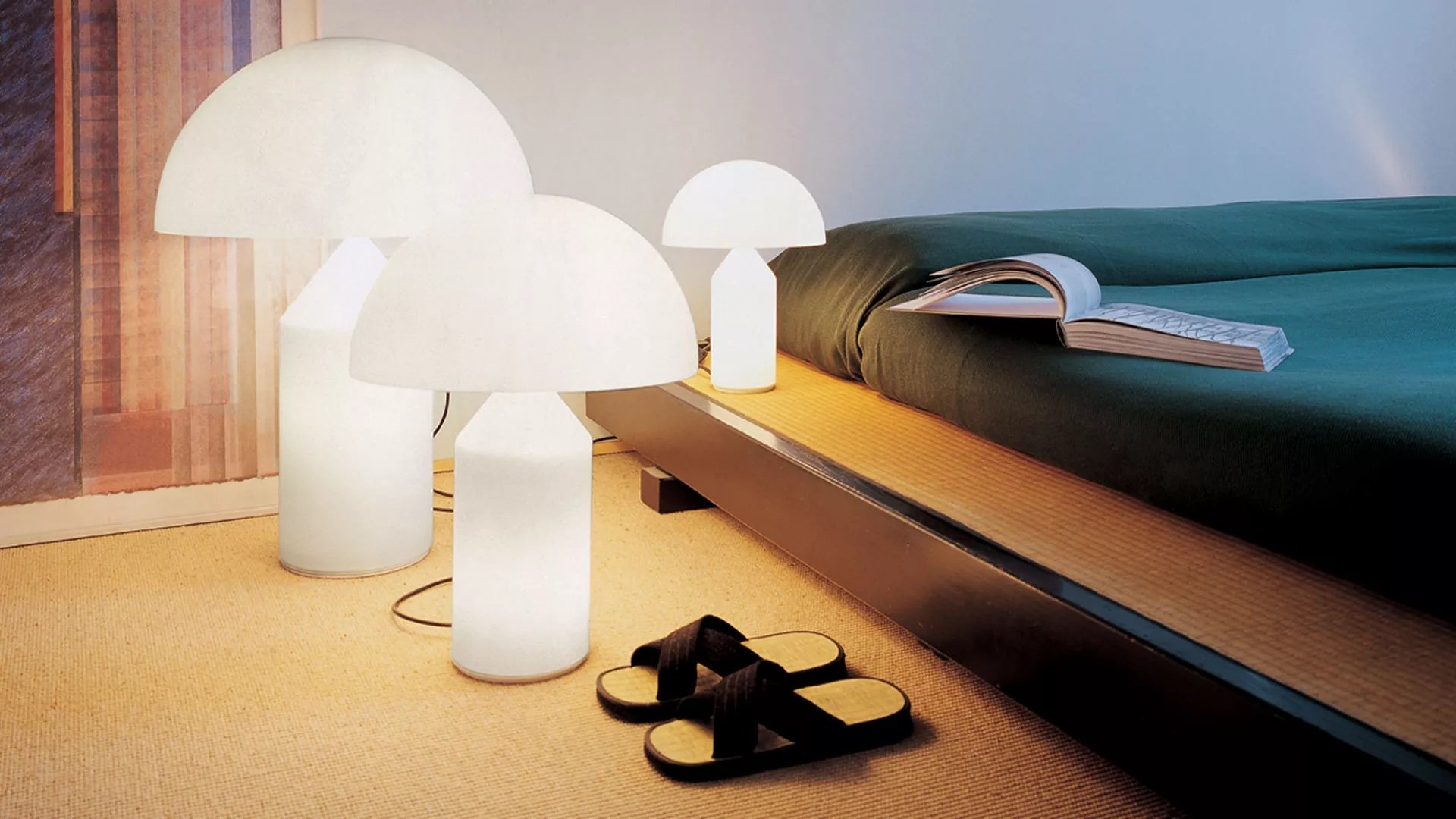 Atollo Glass Table Lamp lighting from Oluce, designed by Vico Magistretti