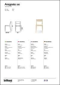 Aragosta Dining Chair Data Sheet