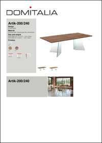 Artik 200/240 Dining Table Data Sheet