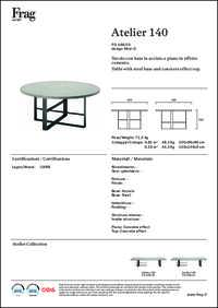 Atelier 140 Dining Table Data Sheet