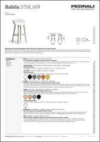 Babila 2758 Barstool Data Sheet