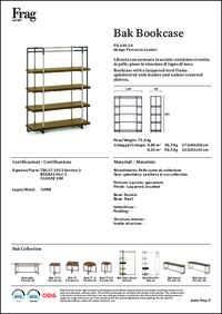 Bak Bookcase Data Sheet