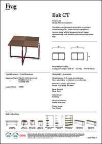 Bak Coffee table Data Sheet