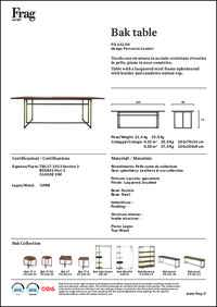 Bak Dining Table Data Sheet