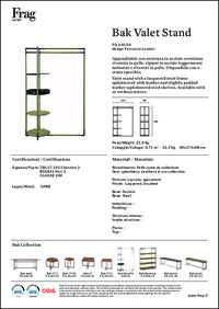 Bak Valet Stand Data Sheet