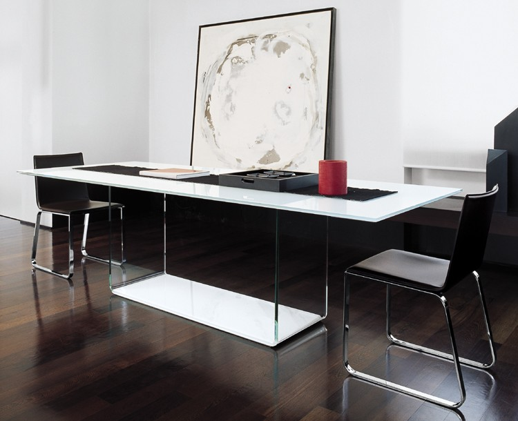 Curved Base Smoked Glass Dining Table