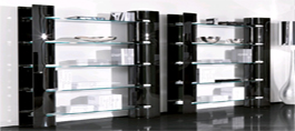 Bent Glass Bookcases